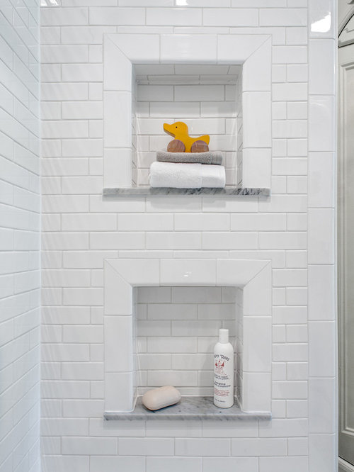 Small Elegant Black And White Tile And Subway Tile Marble Floor Bathroom  Photo In New York