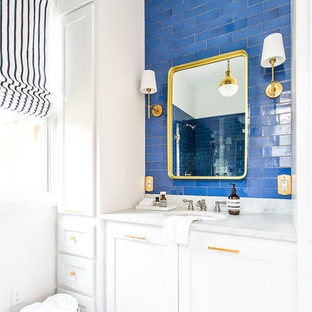75 Beautiful Modern Blue Tile Bathroom Pictures & Ideas - January, 2021 | Houzz