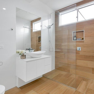 Mid-sized contemporary 3/4 bathroom in Brisbane with an alcove shower, brown tile, white tile, a vessel sink, brown floor, an open shower, flat-panel cabinets, white cabinets, white walls and white benchtops.