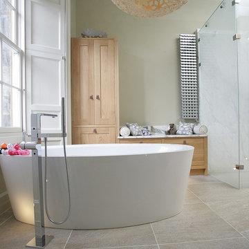 Stylish Family Bathroom with Oak Shaker Style Cabinets
