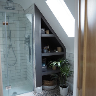Design ideas for a small scandi ensuite bathroom in West Midlands.