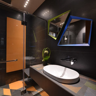 Trendy 3 4 Multicolored Floor Alcove Shower Photo In Mumbai With Black Walls A
