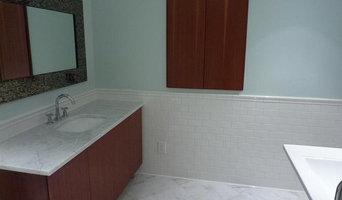 Subway, Carrara & Glass Tile Bathroom