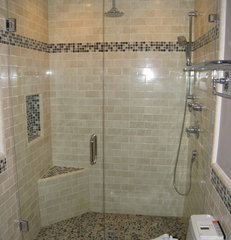contemporary bathroom Subway tile shower