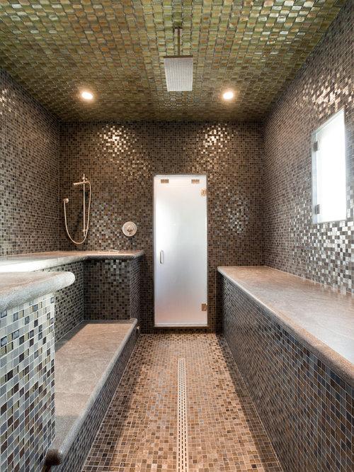 75 Beach Style Mosaic Tile Wet Room Design Ideas Stylish Beach