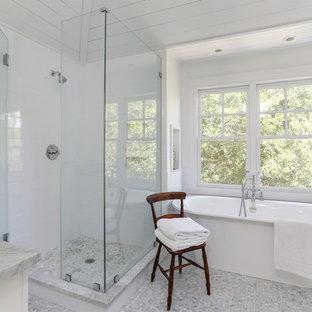 Inspiration for a beach style white tile mosaic tile floor bathroom remodel in Charleston
