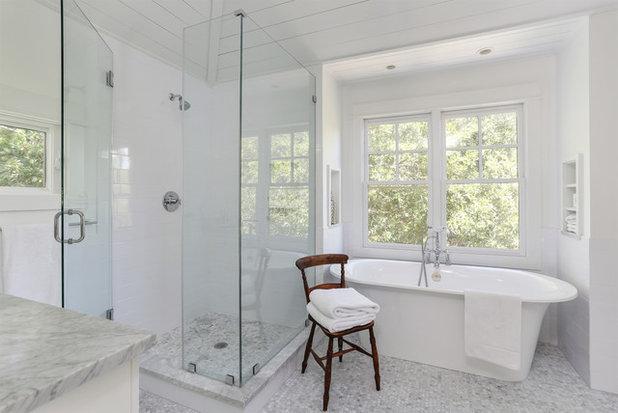 Beach Style Bathroom by Amy Trowman Design. A Handy Side Table for the Tub