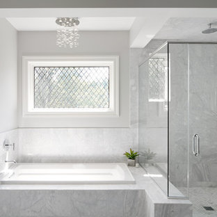 Mid-sized transitional master white tile drop-in bathtub photo in Chicago with gray walls