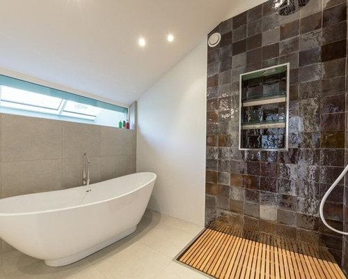 Bagno Con Doccia Aperta : Stanza da bagno con pavimento con cementine oxfordshire foto