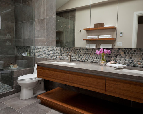 Inspiration For A Contemporary Pebble Tile Bathroom Remodel In Vancouver With Limestone Countertops An Undermount