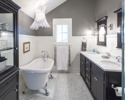 Bathroom   Large Traditional Master White Tile White Floor And Marble Floor  Bathroom Idea In Vancouver