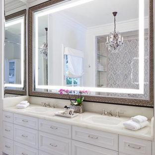 Inspiration For A Large Timeless Master Beige Tile And Stone Slab Ceramic Floor Bathroom Remodel In