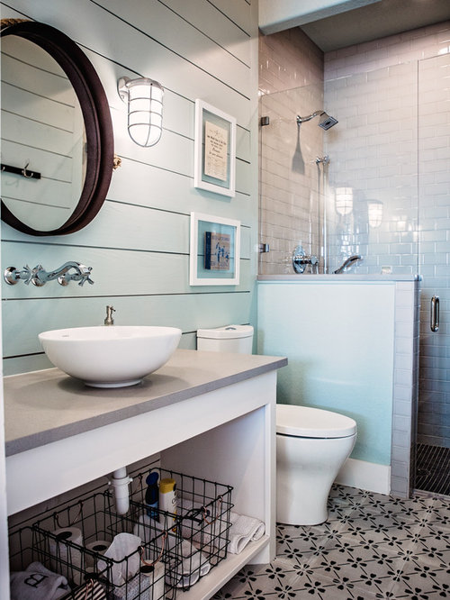 Inspiration For A Large Beach Style 3/4 White Tile And Subway Tile Cement  Tile