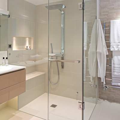 Inspiration for a contemporary shower bench remodel in New York with an integrated sink and a niche