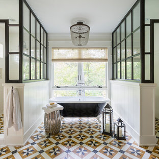 Example of a large transitional master white tile multicolored floor and ceramic floor bathroom design in Los Angeles with a hinged shower door, furniture-like cabinets, medium tone wood cabinets, white walls and an undermount sink