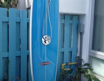 Surf board outdoor shower