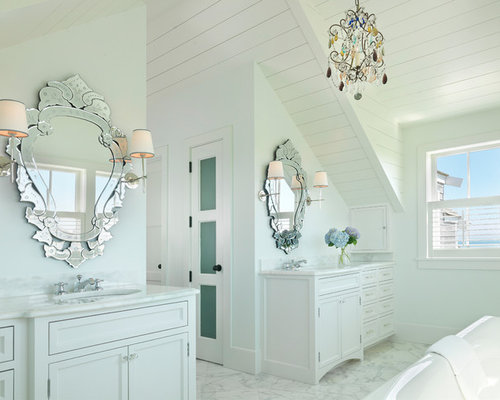 Inspiration For A Beach Style Bathroom Remodel In Boston With White Cabinets