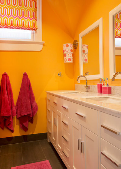 Transitional Bathroom by Margot Hartford Photography
