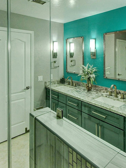 Best bathroom with turquoise cabinets and gray walls for Gray and turquoise bathroom