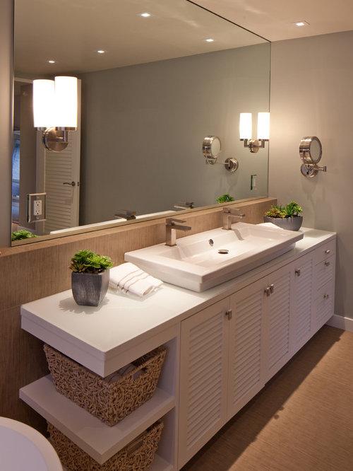 Mid Sized Contemporary Master Ceramic Floor Bathroom Idea In San Diego With  A Trough Sink