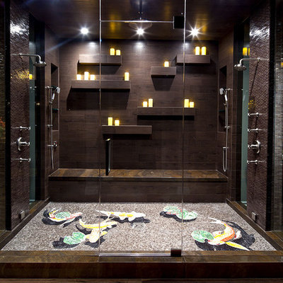 Double shower - contemporary mosaic tile and brown tile double shower idea in Los Angeles