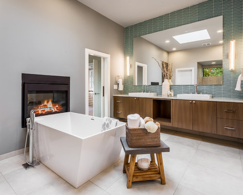 Design Ideas For Home. Inspiration for a contemporary master green tile gray floor freestanding  bathtub remodel in Seattle with flat Best 15 Contemporary Home Design Ideas Houzz