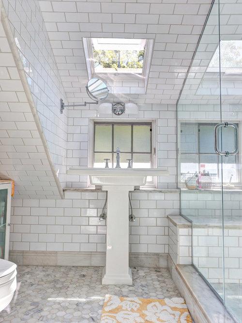 Hexagonal tile floor houzz for Small craftsman bathroom design