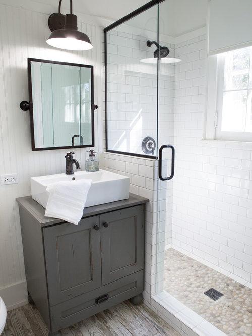 Corner Shower   Small Farmhouse 3/4 Pebble Tile And White Tile Porcelain  Floor Corner