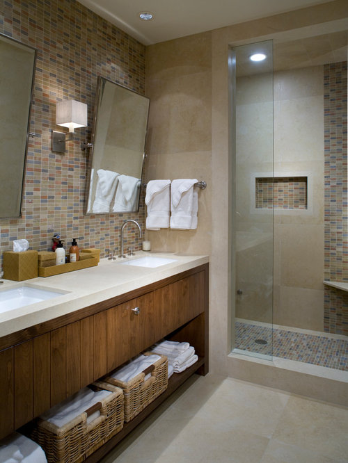 Example Of A Trendy Multicolored Tile And Mosaic Tile Alcove Shower Design  In Denver With An Part 67