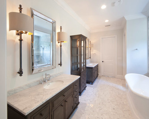Houzz | Shabby-Chic Style Bathroom with Dark Wood Cabinets Design Ideas & Remodel Pictures
