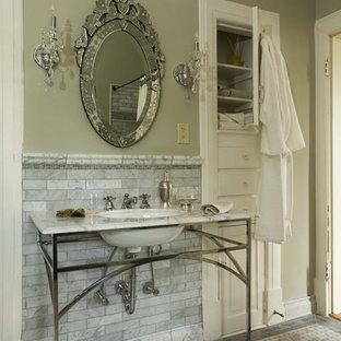 Elegant marble tile bathroom photo in Birmingham