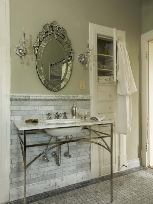 Elegant Marble Tile Bathroom Photo In Birmingham