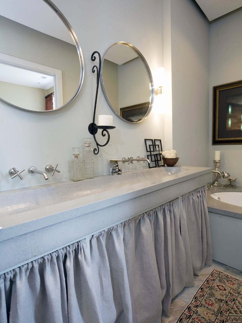 Inspiration For An Eclectic Bathroom Remodel In Birmingham With A Trough Sink And An Undermount Tub