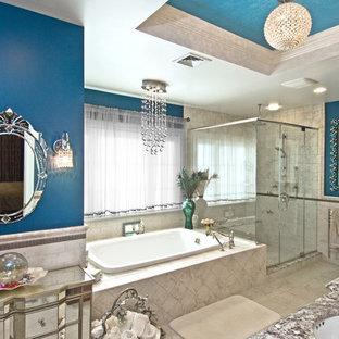 Imagen de cuarto de baño clásico con encimera de granito y baldosas y/o azulejos de cemento