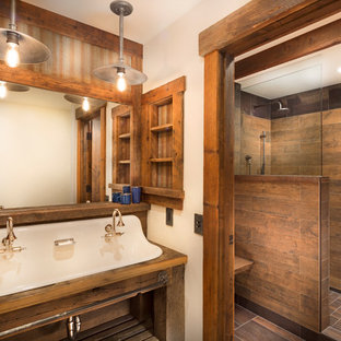 Mid Sized Mountain Style Master Brown Tile And Porcelain Floor Bathroom Photo In