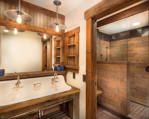 midsized mountain style master brown tile and porcelain tile porcelain floor bathroom photo in