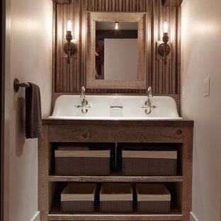 Bathroom - rustic bathroom idea in San Francisco with a trough sink and open cabinets