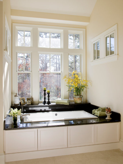 Large Elegant Master Bathroom Photo In Boston With Beige Walls,  Recessed Panel Cabinets,