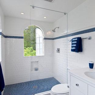 Elegant blue floor bathroom photo in San Francisco