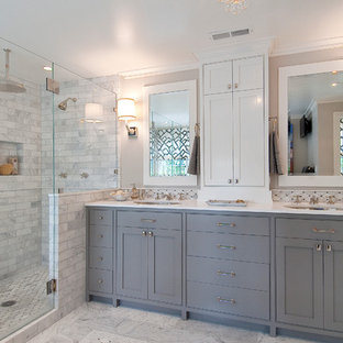 Example of a classic bathroom design in San Francisco with gray cabinets