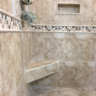 Tan Shower with Decorative Tile Insert