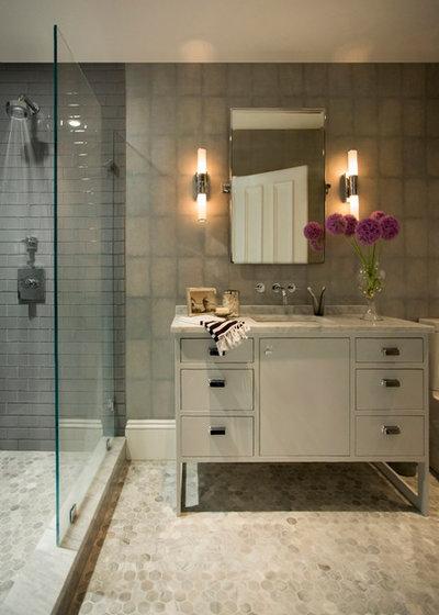 Transitional Bathroom by Tanya Capaldo Designs