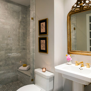 Alcove shower - mid-sized traditional 3/4 gray tile and stone tile mosaic tile floor alcove shower idea in Boston with a pedestal sink, a one-piece toilet and gray walls
