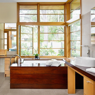 Inspiration for an asian bathroom remodel in Austin with a vessel sink