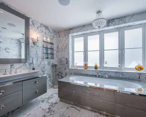 Contemporary Ensuite Bathroom In London With Flat Panel Cabinets, Grey  Cabinets, A Built
