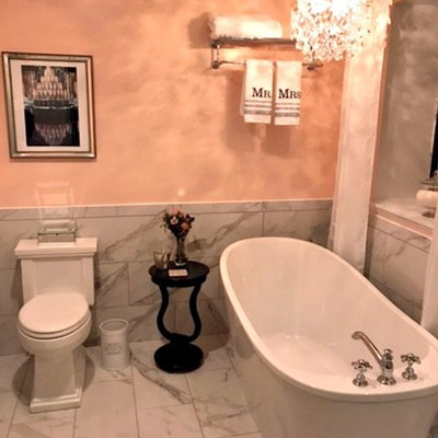 Freestanding bathtub - small shabby-chic style master marble floor and white floor freestanding bathtub idea in Other with yellow walls