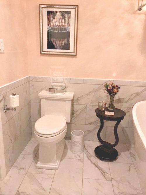 Salle de bain romantique avec un mur jaune : Photos et idées déco de ...