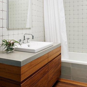 Teak and Concrete Bathroom - Williamsburg Renovation