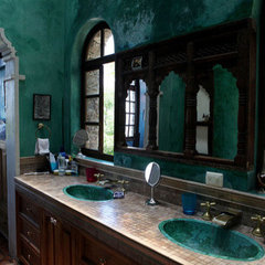 eclectic bathroom teal bathroom