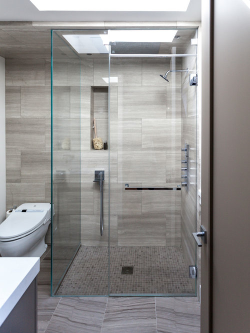 Grey shower tile houzz for Bathroom tiles modern